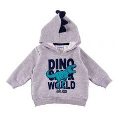 Blusão de Bebê com Capuz Dino Fakini Mescla