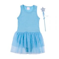 Body 4 a 10 Anos com Tule + Varinha Marmelada Azul Claro