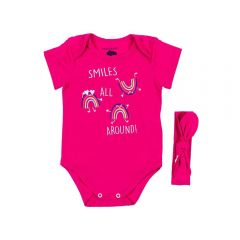 Body de Bebê Arco Iris com Tiara Lacinho Yoyo Baby Pink
