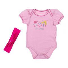Body de Bebê Cotton com Faixa Yoyo Baby Pessego