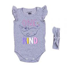 Body de Bebê Cotton com Tiara Yoyo Baby Mescla Claro