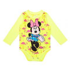 Body de Bebê FPS UV 50+ Neon Minnie Disney Amarelo Fluor