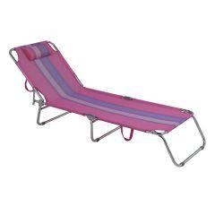 Cadeira Espreguiçadeira em Aluminio Mor 2418 - Rosa