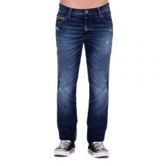 Calça Jeans com Bigode e Puídos Thing Dark Blue