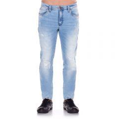 Calça Jeans com Puídos e Bigode Laser Thing Light Blue