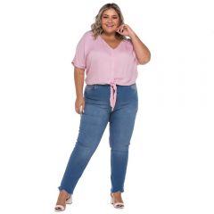 Calça Jeans Plus Size Barra Irregular Patrícia Foster Mais Azul