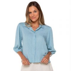 Camisa com Manga Bufante Patrícia Foster Azul