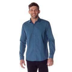 Camisa Social Micromotivos Marc Alain Azul C/Mrinho