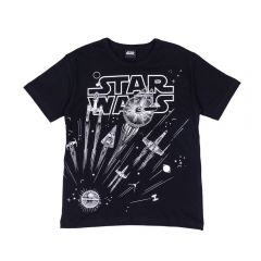 Camiseta 12 a 16 Anos Star Wars Espaçonaves Disney Preto
