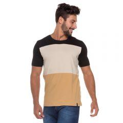 Camiseta com Bloco de Cores Marc Alain Preto
