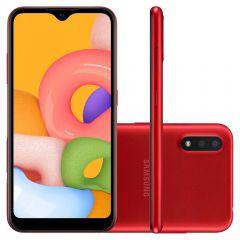 """Celular Smartphone Galaxy A01 32Gb 5,7"""" Samsung - Vermelho"""