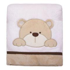 Cobertor Bebê Bordado 75X100m Microfibra - Urso Bege