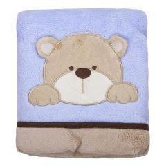 Cobertor Bebê Bordado 75X100m Microfibra - Urso Azul