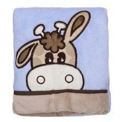 Cobertor Bebê Bordado 75X100m Microfibra - Girafa Azul