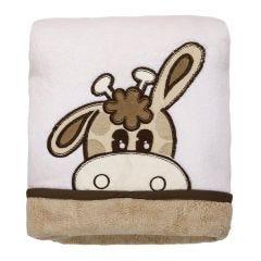 Cobertor Bebê Bordado 75X100m Microfibra - Girafa Bege