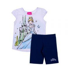 Conjunto 1 a 3 anos Blusa Cinderela + Shorts Disney Branco E Marinho