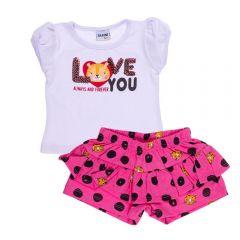 Conjunto de Bebê Blusa e Shorts Fakini Branco C/ Poa