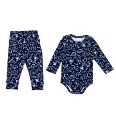 Conjunto de Bebê Body e Calça Estampado Rovitex Marinho