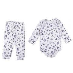 Conjunto de Bebê Body e Calça Estampado Rovitex Off White