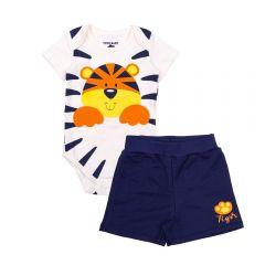 Conjunto de Bebê Body e Shorts Tigre Yoyo Baby Perola/Marinho