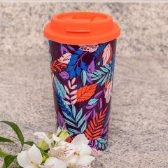 Copo para Café 430ml com Tampa Solecasa - Folhas