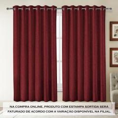 Cortina Jacquard Estampa Sortida 4,00X2,30M Havan - Vermelha