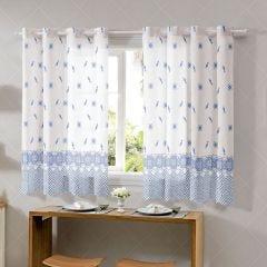 Cortina Para Cozinha 2,60X1,20M Allegra Bella Janela - Porcelana Azul