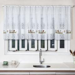 Cortina para Cozinha de Renda 200x80cm Havan - Corujinhas Branco
