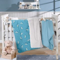 Edredom para Bebê Plush 1,00mx1,10m Plush Yoyo Baby - Azul