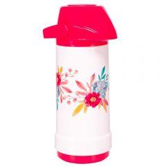 Garrafa Térmica 1 Litro Sistema de Pressão Invicta - Rosa Floral