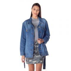 Jaqueta Jeans Com Faixa Patrícia Foster Blue