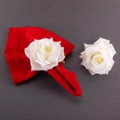 Jogo de Argolas Para Guardanapos 2 peças Primavera - Rosa Branca