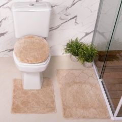 Jogo De Tapete Para Banheiro Miami 03 Peças Solecasa - Natural
