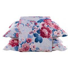 Cobre Leito Solteiro Estampada 2 Peças Solecasa - Floral Azul