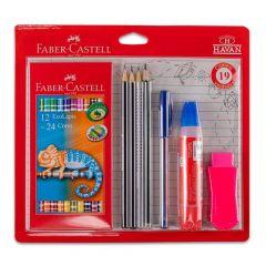 Kit Escolar Com 19 Peças Faber Castell - KIT/HAVAN16