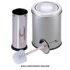 Kit Lixeira 5 Litros E Escova Sanitária Solecasa - Inox