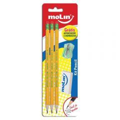Kit Pencil Com Lápis + Borracha E Apontador Molin - 13232