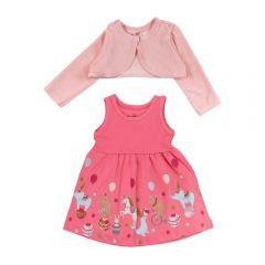 Kit Vestido e Bolero de Bebê Brandili Rosa