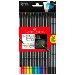 Lápis De Cor 12 Cores + 2 Grafite Supersoft Faber-Castell - 210712