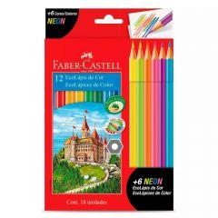 Lápis De Cor 12 Cores + 6 Lápis Neon Faber-Castell - 112671