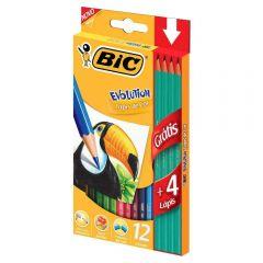 Lápis De Cor Evolution Com 12 Cores E 4 Lápis Preto Bic - 902545