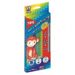 Lápis De Cor Tris Mega Soft Color 12 Cores + 1 Lápis E 1 Apontador - 680187