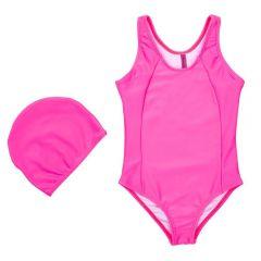 Maiô de 4 a 10 Anos UV Neon com Touca Marmelada Pink