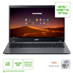 """Notebook Aspire 3 I5/4Gb/256Gb/Endless 15,6"""" Acer - Cinza"""