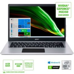 """Notebook Aspire 5 I5/8Gb/512Gb De Ssd/Win10 14"""" Acer - Prata"""