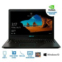 """Notebook Asus M570dd Ryzen5/8Gb/1Tb/Gtx1050 15,6"""" - Preto"""