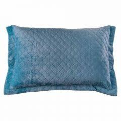 Porta Travesseiro 50Cm X 70Cm Plush 100% Poliéster Yaris - Azul Stone