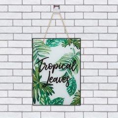 Quadro  De Vidro Tropical Leaves 20x28cm - Preto