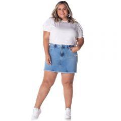 Saia Jeans Plus Size com Puídos Patrícia Foster Mais Light Blue