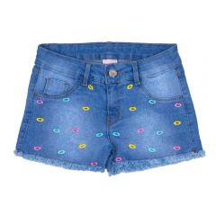 Short 4 a 10 Anos Jeans Bordado Boquinha Marmelada Azul